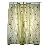 "Gift for Her-2 Organza Cream Base with Red Bell Embroidered Sari Curtains Drapes Panel 92"" Tabsby Mogulinterior"