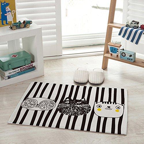 Yazi Nero/Bianco sporco moda gatto flanella Tappeto Casa Cucina Decorazione 40x 60cm