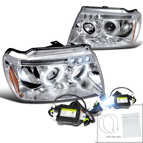 Jeep Grand Cherokee Chrome Halo Led Projector Headlights+H1 6000K Hid Kit
