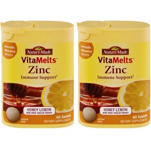 Nature Made Vitamelts Zinc Immune Support All Natural Honey Lemon Flavor Smoot Dissolve Tablets, 60 Tabs 15Mg (Pack Of 2)