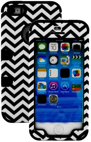 Mylife (Tm) Classic Black - Chevron Series (Neo Hypergrip Flex Gel) 3 Piece Case For Iphone 5/5S (5G) 5Th Generation Itouch Smartphone By Apple (External 2 Piece Fitted On Hard Rubberized Plates + Internal Soft Silicone Easy Grip Bumper Gel + Lifetime War