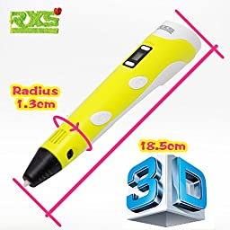 RXS 3D Printing Pen LCD screen, light Yellow