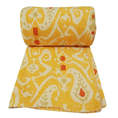 Paisley Pattern Gudri New Kantha Stitch Pure Cotton Quilt Yellow Bed Spread 108 X 90 front-936683