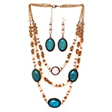 HONEYJOY Lady Charming Beads Stone Resin Earrings & Necklace(blue)