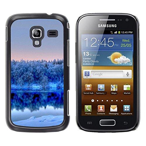 TORNADOCOVER Smartphone Handy Schwarz Hart Schutz Hülle Bild Case Etui Cover Schale für Samsung Galaxy Ace 2 I8160 Ace II X S7560M - Natur Winter weiß See