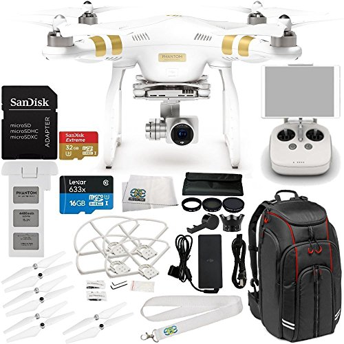 DJI Phantom 3 Professional Quadcopter w/ 4K Camera, 3-Axis Gimbal & Manufacturer Accessories + Manfrotto MB BP-D1 Professional Video Equipment Cases Backpack + 7PC Filter Kit (UV-CPL-ND2-400) + MORE