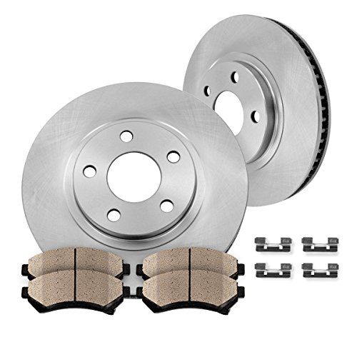 FRONT Premium OE 344.9 mm [2] Rotors + [4] Quiet Low Dust Ceramic Brake Pads + Pad Hardware Clips Kit CFP40178B (Dodge Challenger Rt Rotors compare prices)
