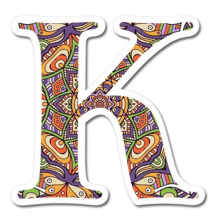 K Letter Ornamental Mandala Fancy Font Vinyl Sticker - Car Phone Helmet - SELECT SIZE (Colorful Initial Car Decals compare prices)