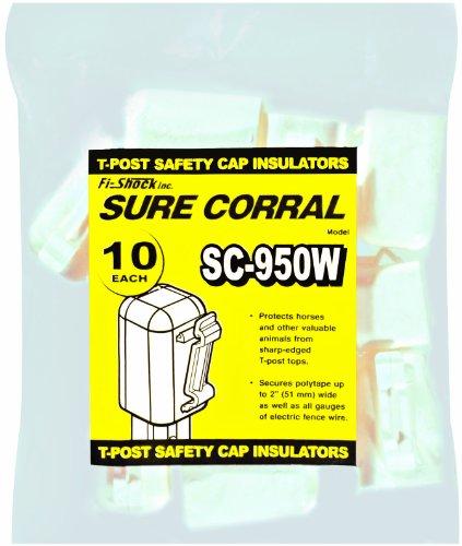 Fi-Shock Sc-950W White T-Post Safety Cap And Insulators, 10-Per Bag