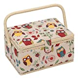 Hobby Gift Owl Design Sewing Box on Natural Medium (18.5 x 26 x 15cm)