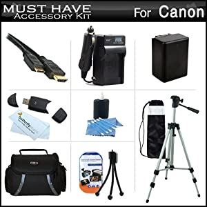 "Must Have Accessory Kit For Canon VIXIA HF R52, HF R50, HF R500, HF R42, HF R40, HF R400, HF R62, HF R60, HF R600 Digital Camcorder Includes Extended Replacement (2000Mah) BP-718 Battery + Ac/Dc Charger + Deluxe Case + 50"" Tripod + Mini HDMI Cable + More"