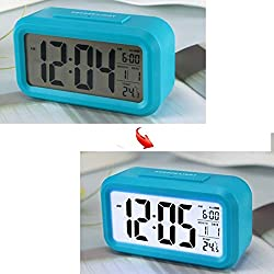 Soondar® Blue LCD Digital Large Screen Alarm Clock Multi-function with Snooze Function, Calendar, Date, Week, Month And Temperature Display(F/C) Great for Children Women Elderly People