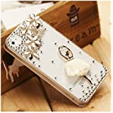 New Ballet Girl Rhinestone Crystal Unique Transparent Case Cover for Iphone 5 5th White