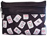 Mah Jongg Black Color Tiles 3 Zipper Mah Jong Purse for Mahjong Card