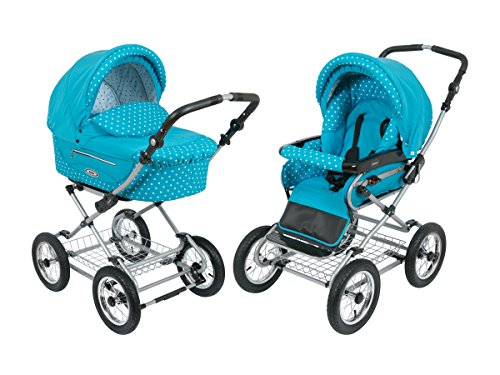 Find Bargain Roan Kortina Classic Pram Stroller 2-in-1 with Bassinet and Seat - Multiple Colors (Sky...