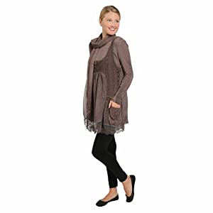 Women's 3 Piece Lace Tunic Top Set - Brown Tunic, Pullover, And Scarf - Lg