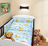 COT BUMPER 100 COTTON PADDED FOR BABY FIT COT 120x60 140x70 STRAIGHT 180cm to fit cot 120x60cm Teddy Honey Blue