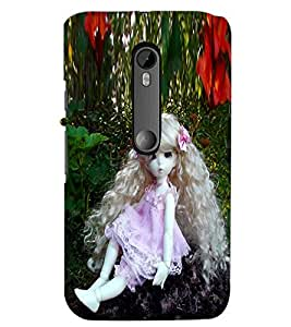 PrintDhaba Long Curly Hair Doll D-1071 Back Case Cover for MOTOROLA MOTO G3 (Multi-Coloured)