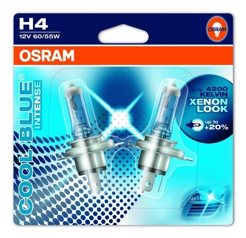 OSRAM COOL BLUE INTENSE H4 Lampada alogena per proiettori 64193CBI-02B 4200K e 20% di luce in più in Blister doppio