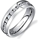 Revoni Titanium Womens 6 mm Eternity Band with Cubic Zirconia Available
