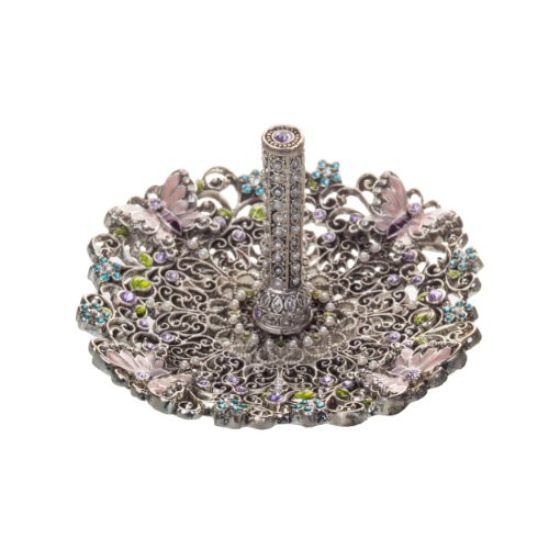 Prinz Secret Garden Ring Holder, 4 by 4 by 2.5-Inch, Antique Silver with Enamel