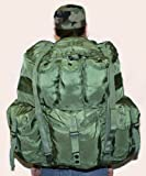 TOFINE Large External Frame Backpack Survival Daypack with Rain Cover Green Fitting Hydration Bag 32 Liter