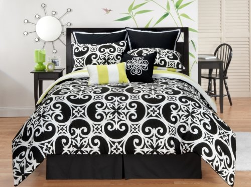 Sunset and Vine Kennedy 8-Piece Comforter Set, Black/White