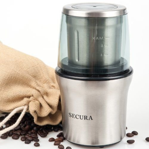 Secura Electric Coffee and Spice Grinder with Stainless-steel Blades Removable