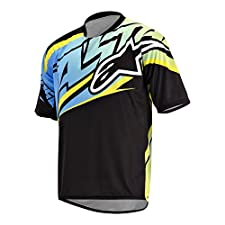 Alpinestars Men's Sight Short Sleeve Jersey Medium Black/Cyan/Yellow