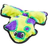 Outward Hound Kyjen  32074 Invincibles Plush Frog Stuffingless Durable Dog Toy with 4-Squeakers, Small, Green Purple