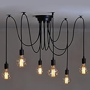 6 Heads Vintage Industrial Edison Ceiling Lamp Chandelier Pendant Light Fixture by Beisaqi