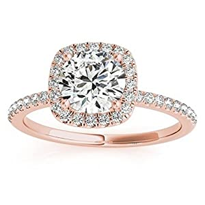 Prong Set, Square Shape Halo Diamond Engagement Ring Setting with Accents in 14k Rose Gold 0.20ct