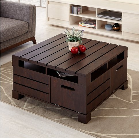 Crete Square Rustic Vintage Walnut Living Room Coffee or Tea Table with Storage (Square Coffee Table Storage compare prices)
