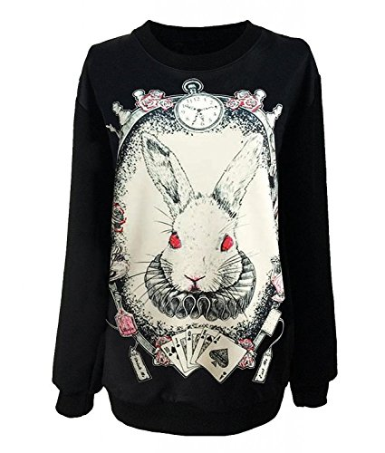 Amyila Gothic Clothing Sweatshirts Alice in Wonderland Costume Rabbit Sweater for Women