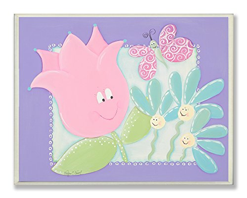 The Kids Room by Stupell Happy Flowers with Butterfly Rectangle Wall Plaque