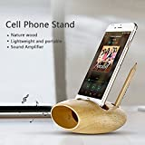 DBF Cell Phone Charging Dock Bamboo Wood Support Creative Pen Container Sound Amplifier USB Charging Dock Station for iPhone 7/7 Plus/6s/6s Plus