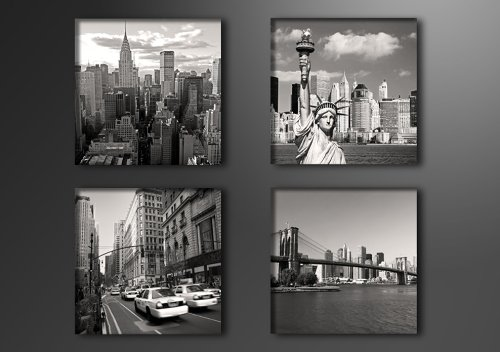 Picture - art on canvas New York 4 x 8 x 8