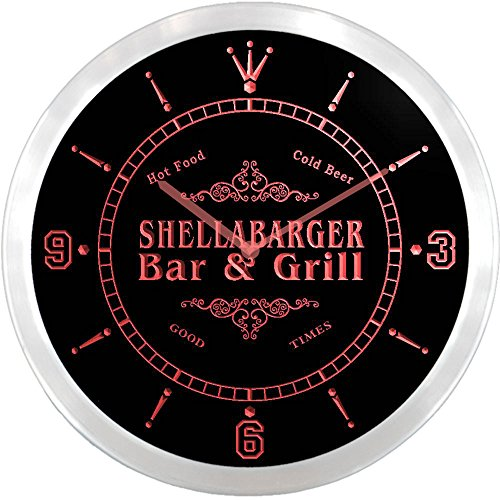 ncu40998-r SHELLABARGER Family Name Bar & Grill Cold Beer Neon Sign LED Wall Clock
