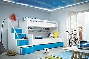 Brand New Kids Children Bunk Bed Bed Max 3 White/Blue with Mattresses Storage sold by Arthauss