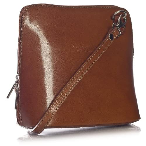 Big Handbag Shop Womens Mini Genuine Italian Leather Cross-Body Handbag