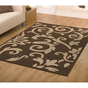 5 Sizes Available - Retro Classics - 8033 8162 Chocolate/Latte - Good Quality Rug by Flair Rugs