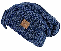 H-6100-6231 Oversized Slouchy Beanie - A Midnight Blue Tricolor Mix