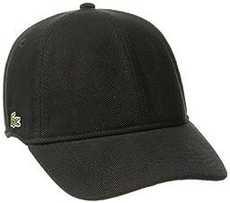 Lacoste Men\'s Pique Cotton Cap, Black, Large