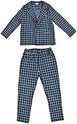 StyleMyKidz Boys' Poly Cotton Clothing Set (BSS102_7-8 Years, Blue, 7-8 Years)