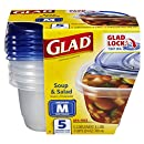Glad Food Storage Containers, Soup and Salad, 24 Ounce, 5 Count (Pack of 6)