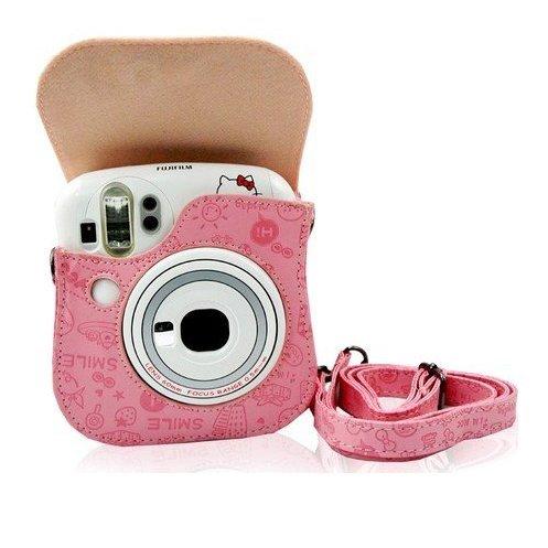 Gearmax® pour Fujifilm Instax Mini 25,(Rose petite sorcière)Cas avec sacs bandoulière caméra Voyage Sac / Vintage PU Cuir