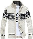 【Smile LaLa】 メンズ 厚い ジップ カーディガン カウチン セーター カジュアル ファッション 男性 用 春服 秋服 冬服 (XL, ホワイト) …