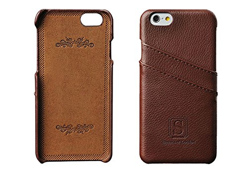 iPhone 6/6s Coated Leather Case with Slots for ID/bank cards - Perfect Slim Fit Luxury Cases by Simons of London - Walnut Brown Back Cover with Gift Box - Enhance & Protect your iPhone today! (Iphone 6 Cas Pink compare prices)