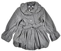 Yoki Girls Single-Breasted Bubble Faux Wool Pea Coat (6X, Charcoal)