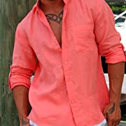 Tropical Florida sun Salmon linen shirt